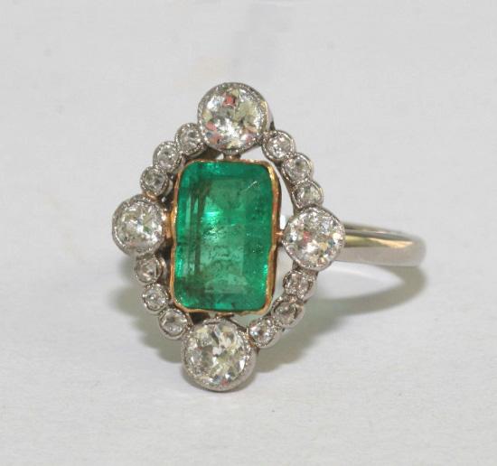 Art Deco Emerald and Diamond Engagement Ring