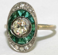 Art Deco Emerald and Diamond Ring