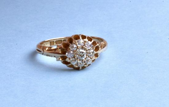 ANTIQUE DIAMOND CLUSTER ENGAGEMENT RING