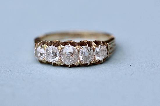 ANTIQUE FIVE STONE CUSHION-CUT DIAMOND RING