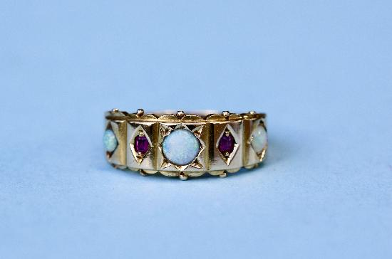 ANTIQUE OPAL AND RUBY RING