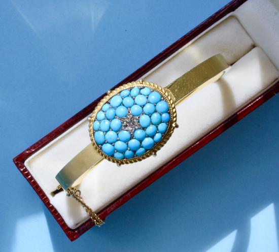 ANTIQUE TURQUOISE AND DIAMOND BANGLE