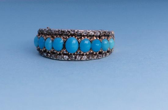 ANTIQUE TURQUOISE AND DIAMOND HALF HOOP RING