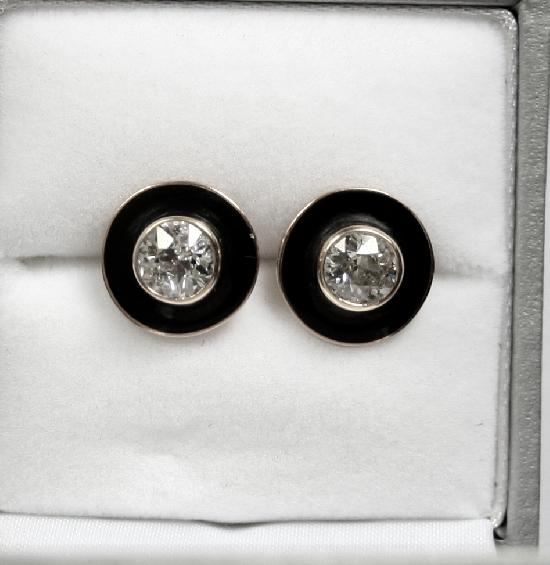ART DECO DIAMOND STUD EARRINGS.