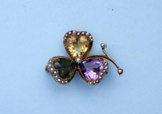 BEAUTIFUL ANTIQUE GEM SET CLOVER BROOCH
