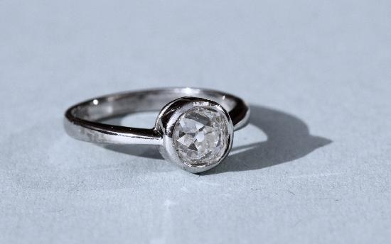 CHUNKY OLD-CUT DIAMOND SOLITAIRE ENGAGEMENT RING