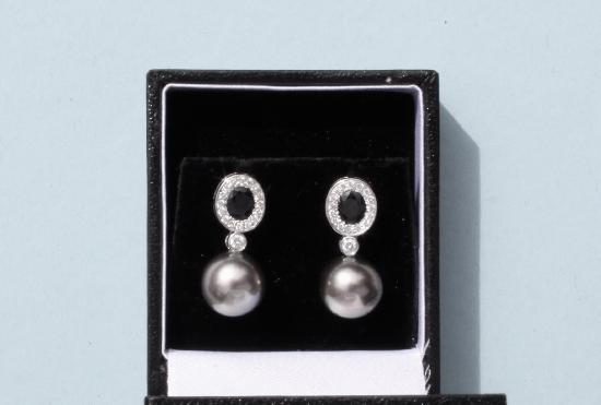 DIAMOND SAPPHIRE AND PEARL EARRINGS RETRO