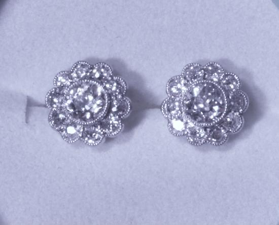 EDWARDIAN PLATINUM DAISY CLUSTER DIAMOND EARRINGS