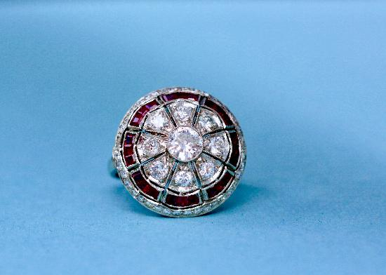 FABULOUS ART DECO  RUBY AND DIAMOND BOMBE RING