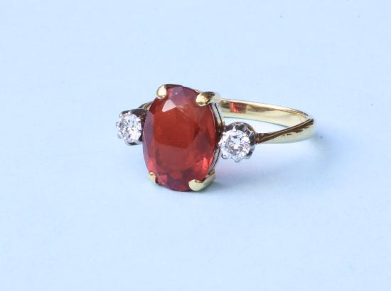FABULOUS FIRE OPAL AND DIAMOND RING