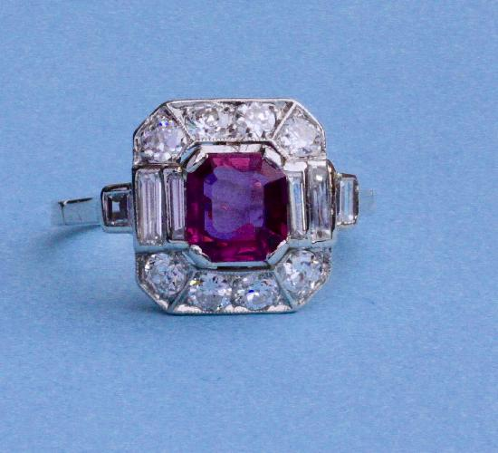 FABULOUS FRENCH RUBY AND DIAMOND ENGAGEMENT RING
