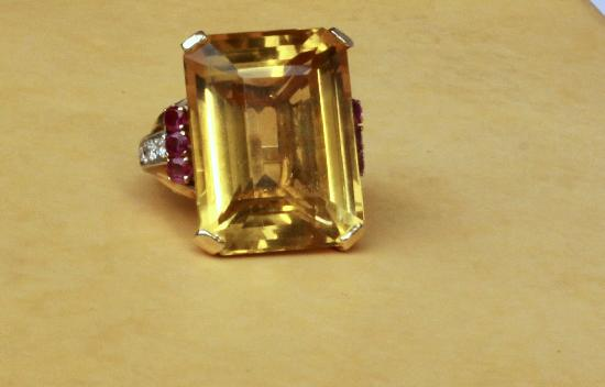 FABULOUS RETRO CITRINE RUBY AND DIAMOND COCKTAIL RING