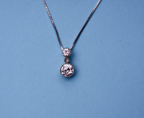 FINE QUALITY DOUBLE DIAMOND DROP PENDANT