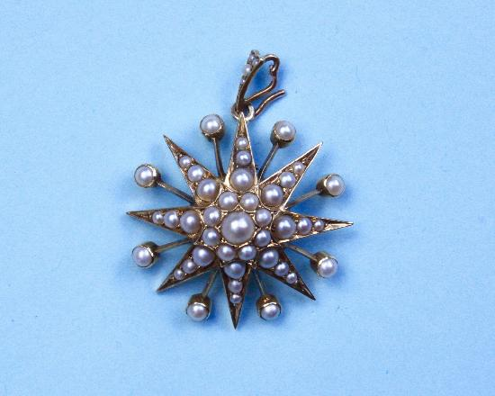 FINE QUALITY LARGE  VICTORIAN STAR PENDANT BROOCH