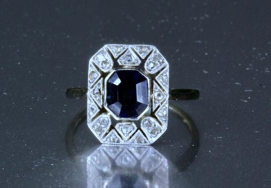 FRENCH ART DECO SAPPHIRE AND DIAMOND ENGAGEMENT RING