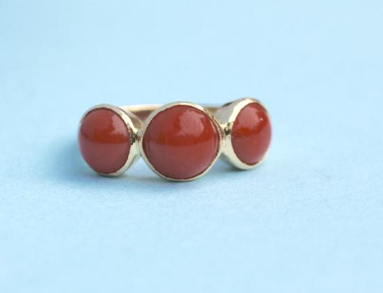 FRENCH VINTAGE CORAL THREE STONE RING