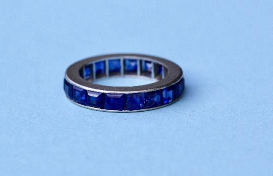 GOOD QUALITY SAPPHIRE FULL ETERNITY RING VINTAGE