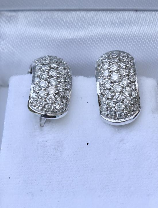 HUGGIE STYLE DIAMOND EARRINGS THREE CARATS.