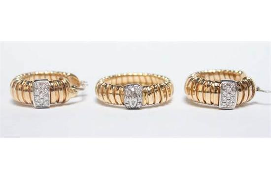 ITALIAN GOLD AND DIAMOND EARRINGS AND RING