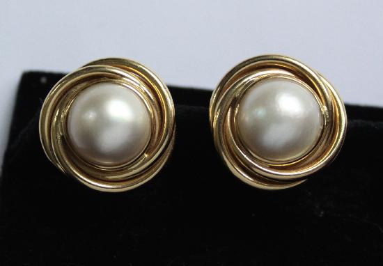 LARGE MABE PEARL AND GOLD EARRINGS