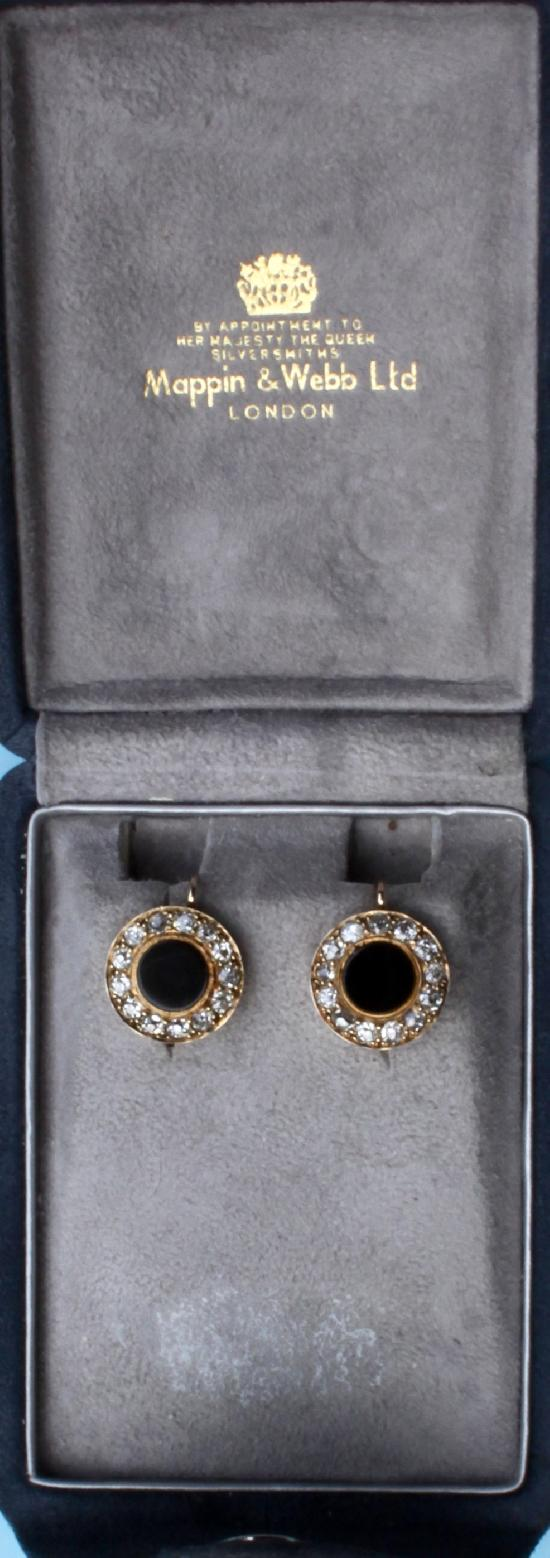 MAPPIN AND WEBB ONYX AND DIAMOND EARRINGS