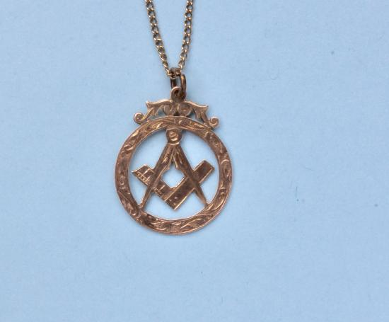 MASONIC ROSE GOLD PENDANT AND CHAIN VINTAGE
