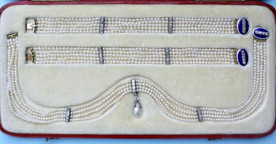 NATURAL PEARL ENAMEL AND DIAMOND DEMI- PARURE 1840-1850