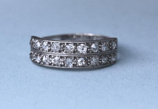 OLD-CUT DIAMOND DOUBLE ROW ETERNITY RING