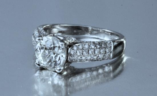 OLD CUT DIAMOND SOLITAIRE ENGAGEMENT RING.