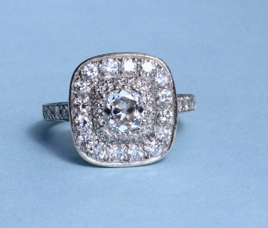 PLATINUM FRENCH BELLE EPOQUE DIAMOND ENGAGEMENT RING.