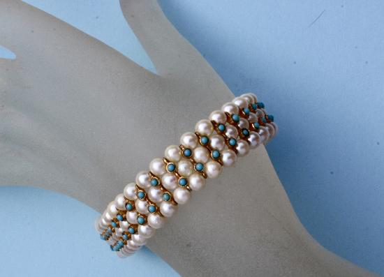 PRETTY TURQUOISE AND PEARL BRACELET