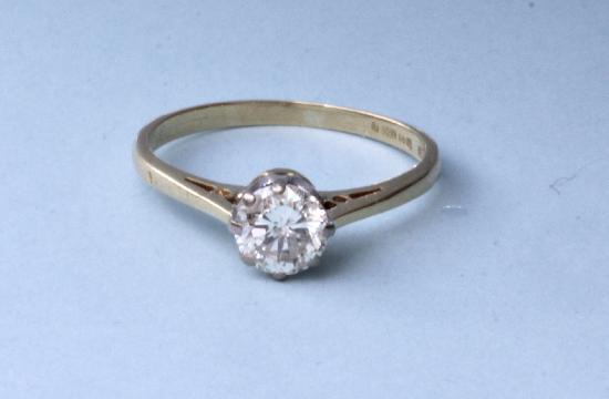 RETRO DIAMOND SOLITAIRE ENGAGEMENT RING