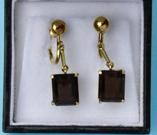 RETRO SMOKEY QUARTZ EARRINGS