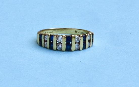 SAPPHIRE AND DIAMOND BAND RING