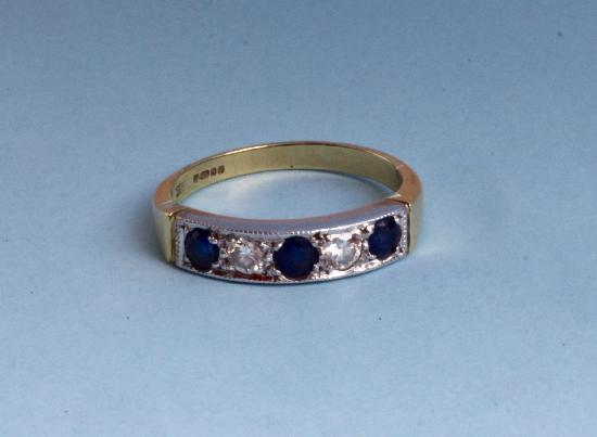 SAPPHIRE AND DIAMOND HALF ETERNITY RING