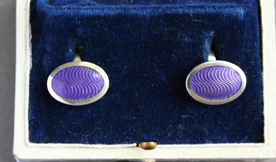 SILVER AND ENAMEL CUFF-LINKS