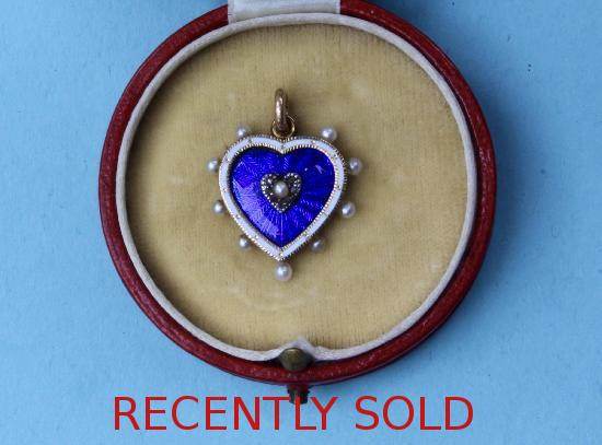 19TH CENTURY DIAMOND PEARL AND ENAMELLED HEART PENDANT