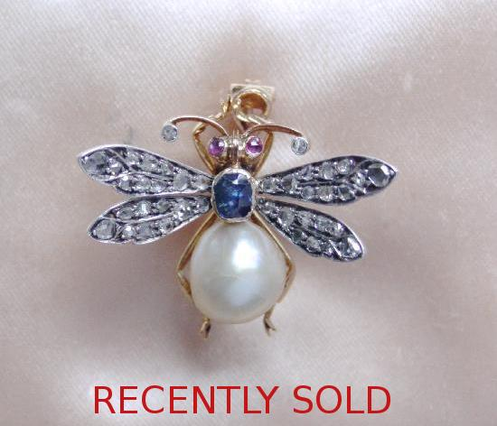 ANTIQUE NATURAL PEARL AND DIAMOND BEE PENDANT