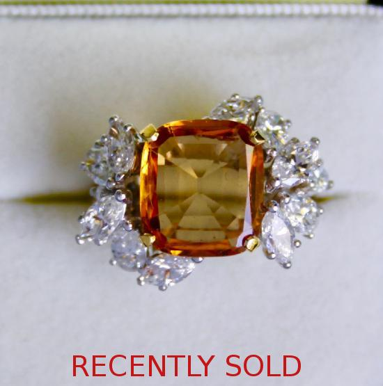 BEAUTIFUL RETRO CITRINE AND DIAMOND COCKTAIL RING