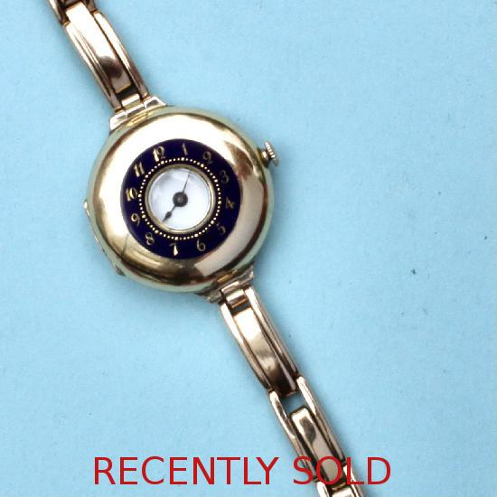 EDWARDIAN ENAMEL AND GOLD LADIES WRIST WATCH