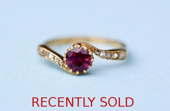 EDWARDIAN RED TOURMALINE AND DIAMOND ENGAGEMENT RING