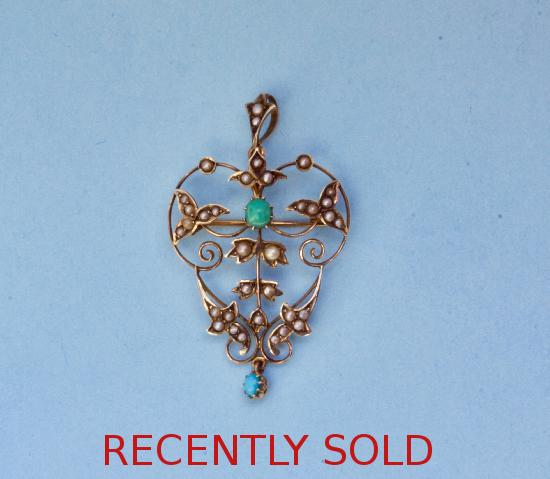 EDWARDIAN TURQUOISE AND SEED PEARL PENDANT BROOCH