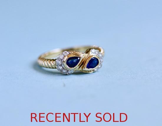 GOOD QUALITY MODERN SAPPHIRE AND DIAMOND RING