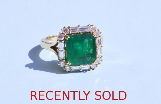 HUGE STUNNING SQUARE CUT EMERALD AND DIAMOND RING