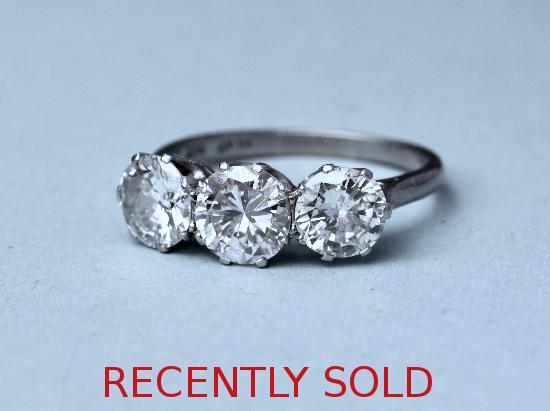 LARGE THREE STONE DIAMOND ENGAGEMENT RING