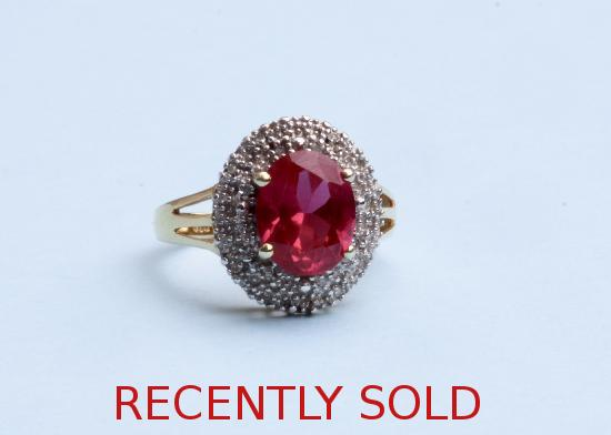 RED STONE AND DIAMOND CLUSTER RING