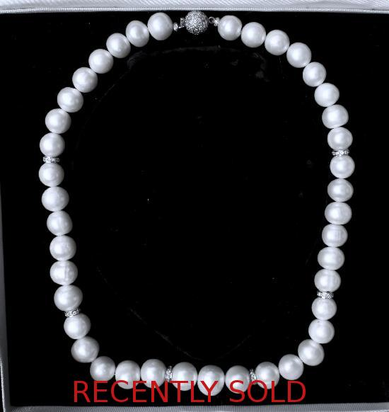 SOUTH SEA WHITE PEARLS AND DIAMOND NECKLACE