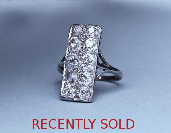 STUNNING ART DECO DIAMOND PLAQUE ENGAGEMENT RING