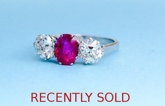 WONDERFUL RUBY AND DIAMOND THREE STONE ENGAGEMENT RING