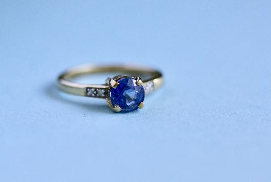 SWEET SAPPHIRE AND DIAMOND ENGAGEMENT RING